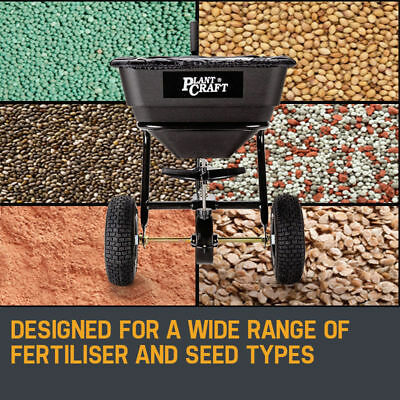 PLANTCRAFT Tow Behind Broadcast Spreader 30kg 26L Seed Fertiliser Tow Rotary