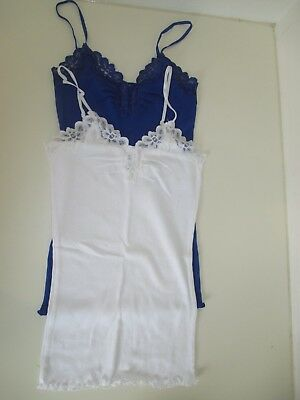 2 Pack Blue and White Vest / Singlets / Camisoles with Lace Detail - Size 10