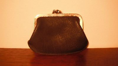Small  Vintage Double Clasp Leather Coin Purse