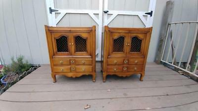 VTG Pair John Widdicomb Fruitwood French Style Nightstands w/ 2 Doors & Drawers