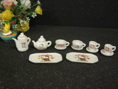 Sanrio Hello Kitty Mini Ceramic Teacup Mug Plate Teapot Dish @1996 - 1997