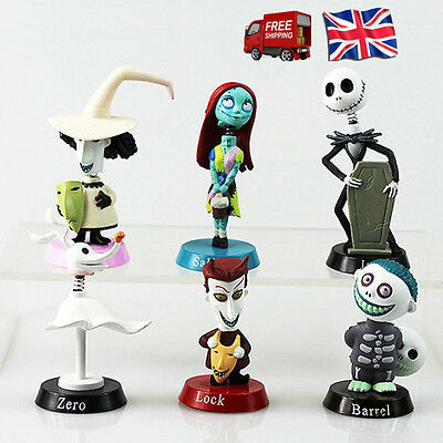 UK Xmas 6PCS Nightmare Before Christmas Jack and Zero Figure Lovely Gift Toys