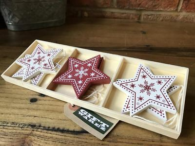 6x Vintage Snowflake Stars Wooden Christmas Tree Bauble Decorations Ornaments