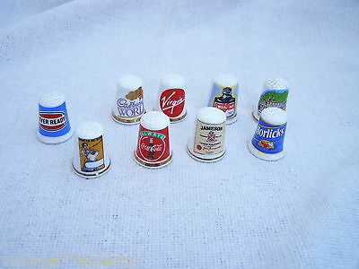 ADVERTISING THIMBLE COLLECTION (9) HORLICKS VIRGIN COCA COLA EVER READY etc....