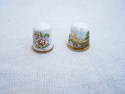 Longton Hall Quality Thimbles (2) Castle Scene + Enamelled Flowers Thimble