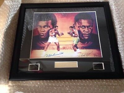 Muhammad Ali V Joe Frazier signed autograph photo and film cell framed Picture