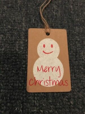 Handmade Handcrafted Christmas Natural Rustic Christmas Snow Man Tags x 6
