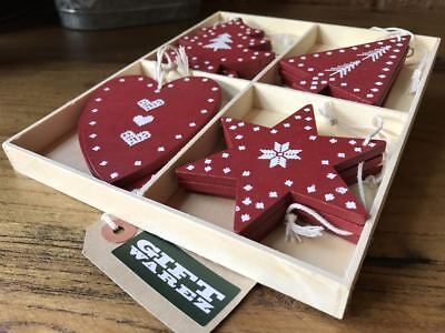 12x Vintage Hearts & Stars Wooden Christmas Tree Bauble Decorations Ornaments