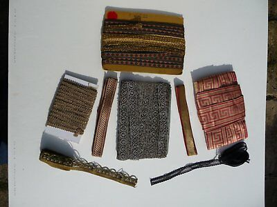A rare collection of 1920's Art Deco brocade & metallic braids of varying sizes