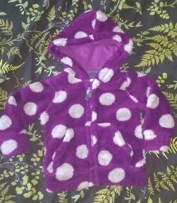 MINI BODEN Purple & Grey Spotted Fluffy Hoodie, age 2-3