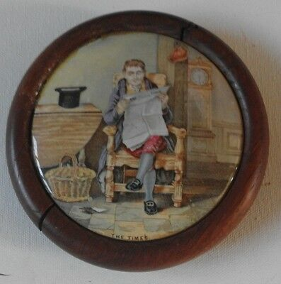 C 1870 Victorian The Times Antique Prattware Pot Lid Lid Mounted On Oak Exc Cond