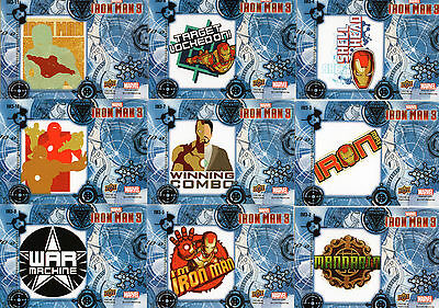 2013 Upper Deck Iron Man 3; 33 Retail Stickers IM3; Less than 37p a card