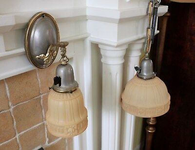 1920s ART DECO SCONCE AND MATCHING HANGING CEILING LIGHT W/ CUSTARD GLASS SHADES