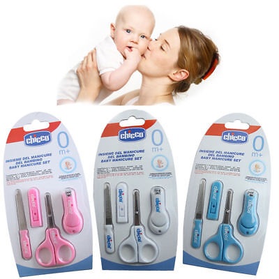 Chicco Baby Manicure Set Scissors Nail Clippers Nail File Pink White or Blue new