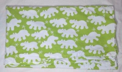 IKEA Baby BARNSLIG FLODHAST Crib Duvet Cover Green Hippos Bedding White Flawless