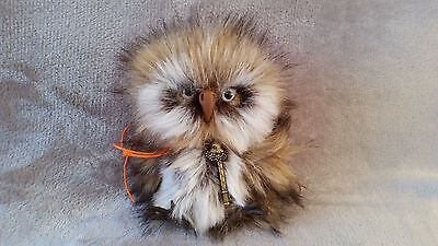 Owl Handmade Brown Grey Mohair Collectable Toy