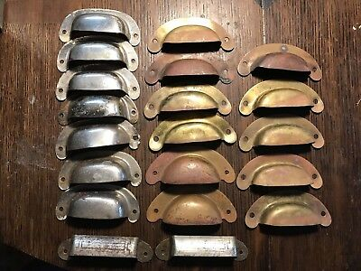 20 Pcs MISSION, ARTS & CRAFTS  ANTIQUE BIN PULLS- BRASS  Steel Cup Hoosier