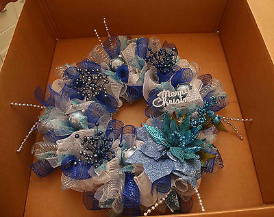 After Christmas Special - Angela's Wreaths & More Blue White Christmas Wreath 82