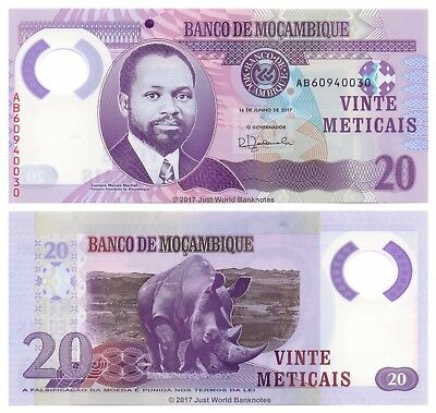 Mozambique 20 Meticais 2017 Polymer P-New Banknotes UNC
