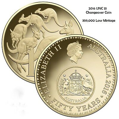 RAM 2016 UNC $1 One Dollar Australia 50th Anniversary Changeover Coin in capsule