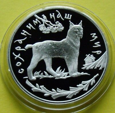 Russia 1995 3 rubles Lynx Protect Our World 1oz Proof Silver Coin