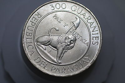 Paraguay 300 Guaranies 1973 Stroessner SILVER HIGH GRADE A69 CM3 - 20