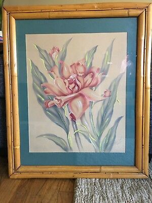 Vintage Hawaiian Painting ~ Red Torch Ginger Mundorff Rare Rattan Frame