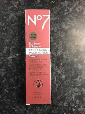 Boots No7 Restore and Renew Face & Neck MULTI ACTION Serum 30ml. New out.