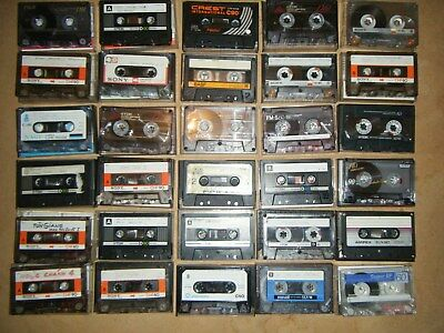 Bulk lot of 30 Used Vintage blank cassette tapes mix TDK Basf Sony ect. (lot9)