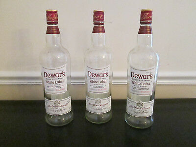Lot of 6 Empty 1 Liter / 1000 ML Dewar's White Label Scotch Bottles with Caps