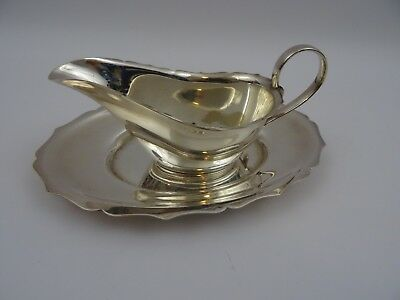 Angorax Silver Plated Gravy Sauce Boat And Stand