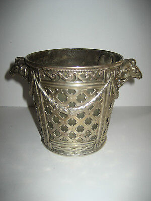Vintage Ornate Silver Bucket, Planter, Bowl, Chillier, Rams Head Handles &Liner