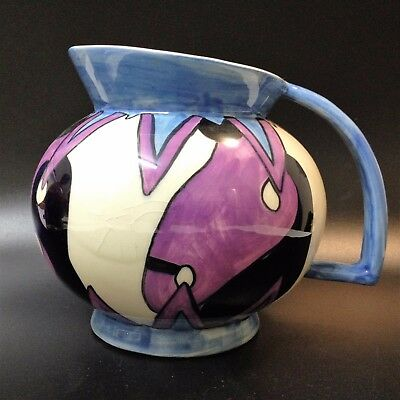 Art Deco Crown Devon - Hand Painted Jug - Icicles by Dorothy Ann, Post 1930