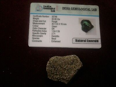 Natural Emerald 95Cts Authenticated!