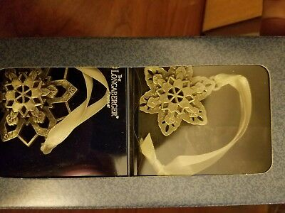 Longaberger Pewter Snowflake Ornaments set of two NEW Christmas 73431