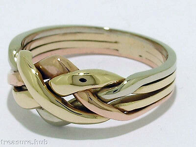 R052-> Genuine 9ct 9K TRI-COLOR Solid Gold PUZZLE WEDDING Ring size Q