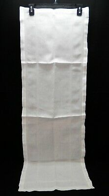 Antique Victorian Pulled Thread White Table Runner Dresser Scarf Edwardian