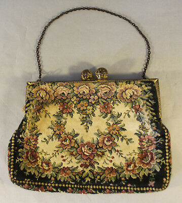 Vintage French Embroidered Purse with Original Chain and Ball Clasp