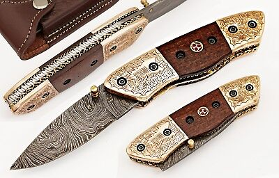 BC-Knives Custom Made Damascus Steel Folding Knife Blade/With Sheath/1-Piece