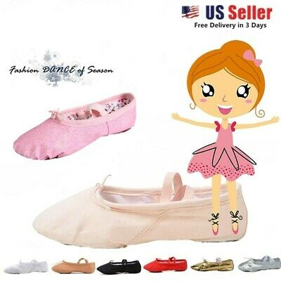 Toddler & Kids Nexete  Ballet Dance Canvas Leather Slipper Shoes