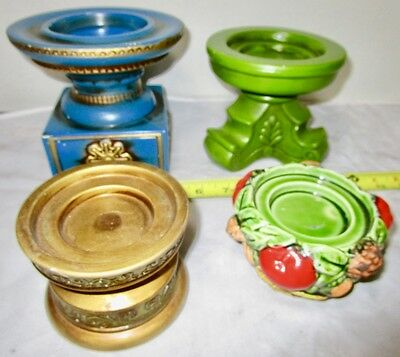 Vintage Color 1960s Mid Century lot of Chalkware Plaster Pillar Candle Holders