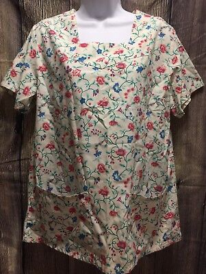 Angelica Womens Medium Short Sleeve Scrub Top Shirt White Floral Flowers Pink