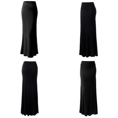 Urban K Womens Basic Foldable High Waist Regular And Plus Size Maxi Skirts