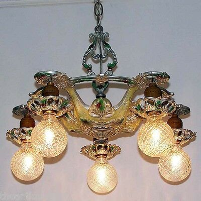 421 Vintage 20s 30s Ceiling Light lamp fixture art nouveau polychrome chandelier