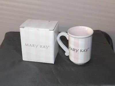 NIB Mary Kay Pink Stripe Coffee Cup Mug with Gold Lettering