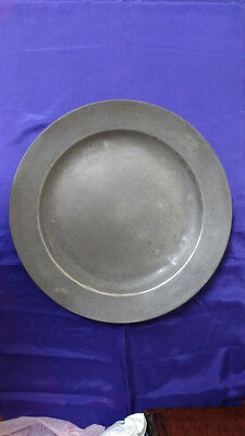 """Large Antique Pewter Plate/Dish (16 1/2"""")"""