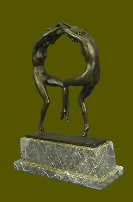 Signed Rare Museum Quality Twin Dancer By Aurore Onu Bronze Hot Cast Sculpture