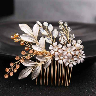 Gold Flowers Rhinestone Crystals Wedding Hair Accessories Bride Bridal Floral Ha