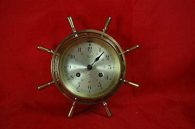 Vintage Salem 8 Day 8 Bell Striking ships clock Brass