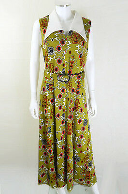 Original 1970s Vintage Olive Geometric Print Maxi Dress UK Size 12